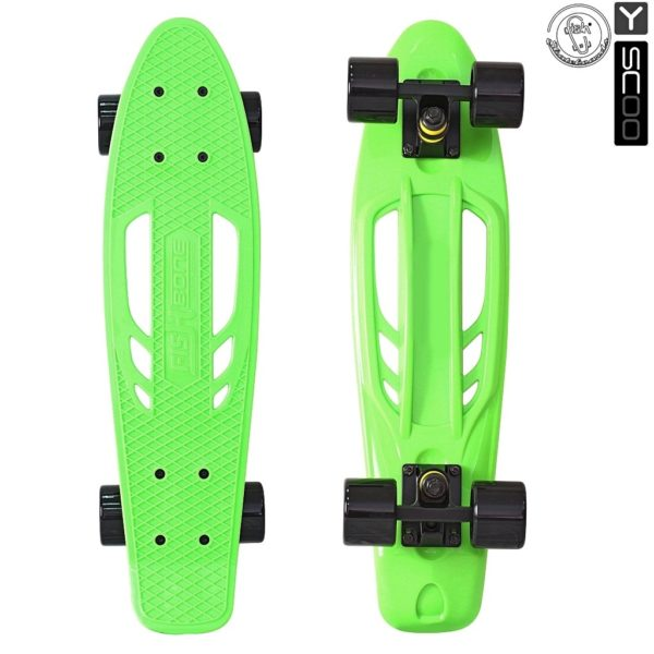 "405-G Скейтборд Y-SCOO Skateboard Fishbone с ручкой 22"" винил 56"