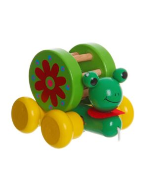 Деревянная игрушка-каталка на веревочке Лягушка-Путешественница Bondibon ВВ1107