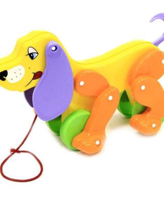 Каталка на веревочке Собака Боби с фиолетовыми ушами Полесье violet_ear