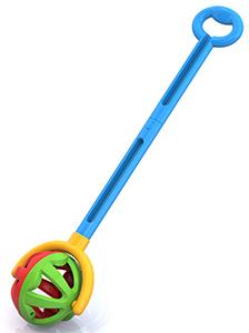 Каталка с ручкой Шарик (зелено-красная) 59х15х12 см. Нордпласт Н-762/1
